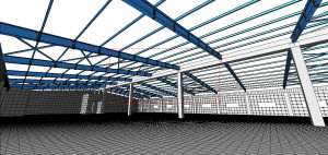 Конечно-элементная модель промышленного здания, 2 этаж 3D