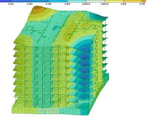 Расчетная форма колебаний при сейсмике жилого здания 3D